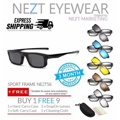 6 in 1 Sport Frame NEZT56 Magnetic Snap On Sunglasses Eyeglasses